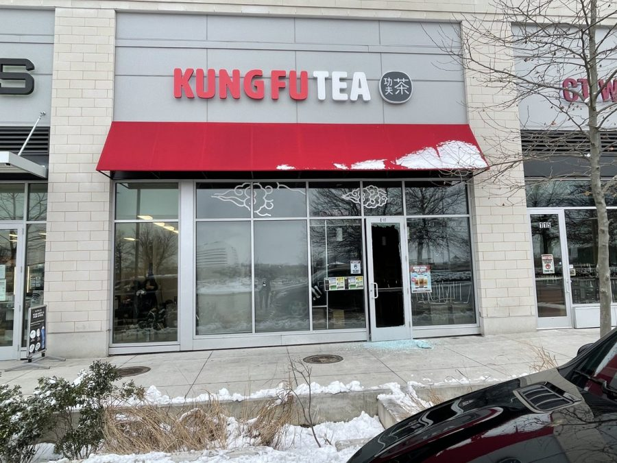 Broken glass scatters on the ground outside of the Kung Fu Tea store in Columbia, Md. that was burglarized early morning on Feb. 12th, 2021, the day of Lunar New Year. Hate crimes against Asian Americans have increased due to the COVID-19 pandemic.