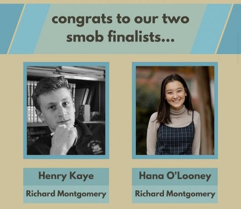 SMOB final candidates Henry Kaye and Hana O'Looney, both current juniors at Richard Montgomery high school, will face off in the SMOB general election in April. Current SMOB, Nick Asante, posted this infographic as a congratulations to the finalists who emerged from a field of ten.