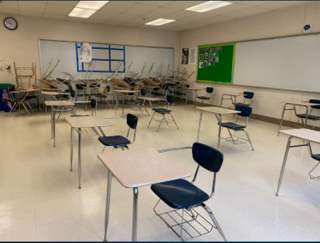 WCHS classrooms have been arranged to accommodate the CDC guidelines with desks 6 feet apart. With 12-15 desks per classroom, students who go back to school can feel safe.
