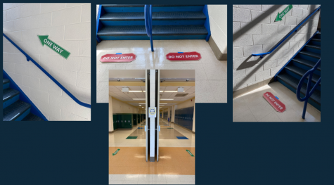 The hallways and stairwells of WCHS have been marked with arrows to guide students and staff in the safest manner possible when reopening begins.