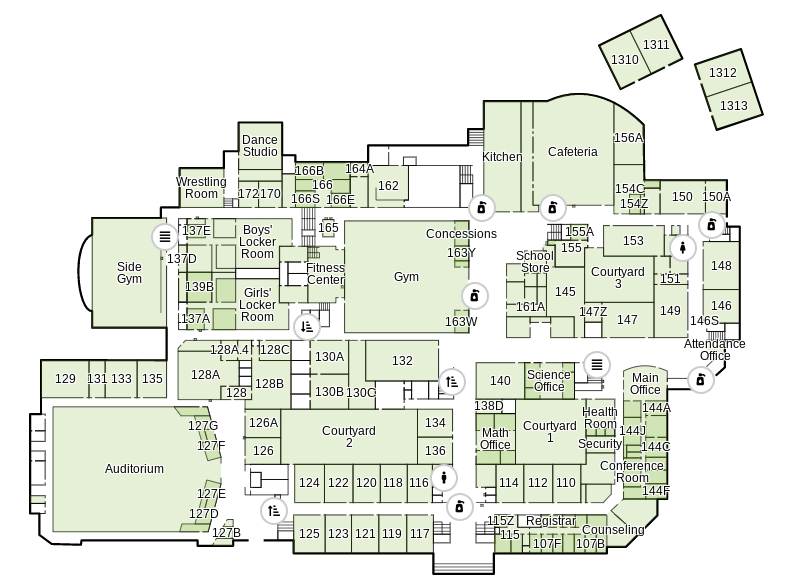 On senior Nathan Varners interactive map of WCHS, students can check out different locations -- including classrooms, the gym, the auditorium and hand sanitizing stations.