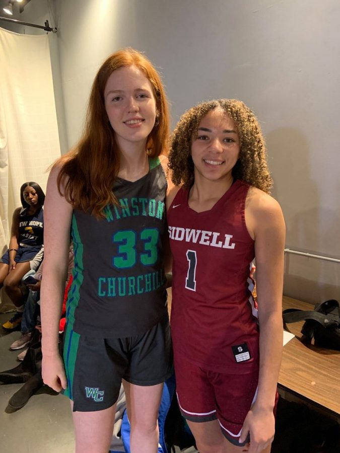Senior basketball player Parker Hill is shown standing next to a fellow teammate as apart of the Washington Posts first team All- Met. Hill was selected to the first team for the 2020 season.