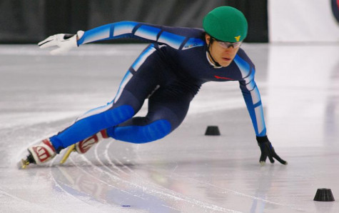 Student speedskater glides past competition