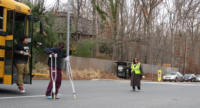 Volunteer guard keeps students safe