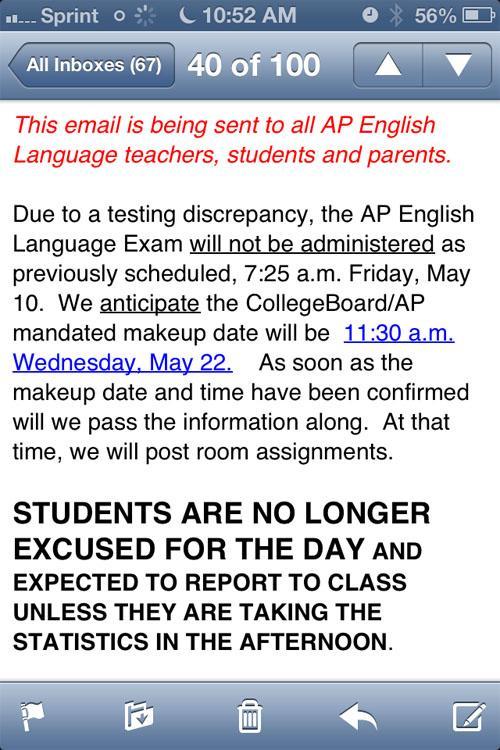AP Language exam postponed last-minute due to testing discrepancy