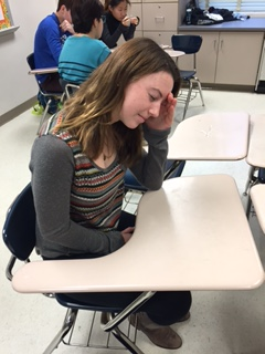 Junior Bridie Dunn struggles to concentrate in class despite the heat.