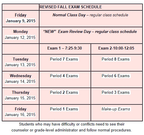 Students, staff 'surprised' by exam schedule change
