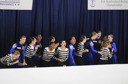 Senior WeiAnne Reidy and teammates celebrate after winning their first national championship title at the 2015 U.S. Synchronized Skating Championship