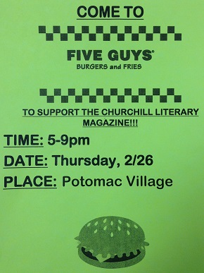 Literary Magazine Fundraiser at Five Guys