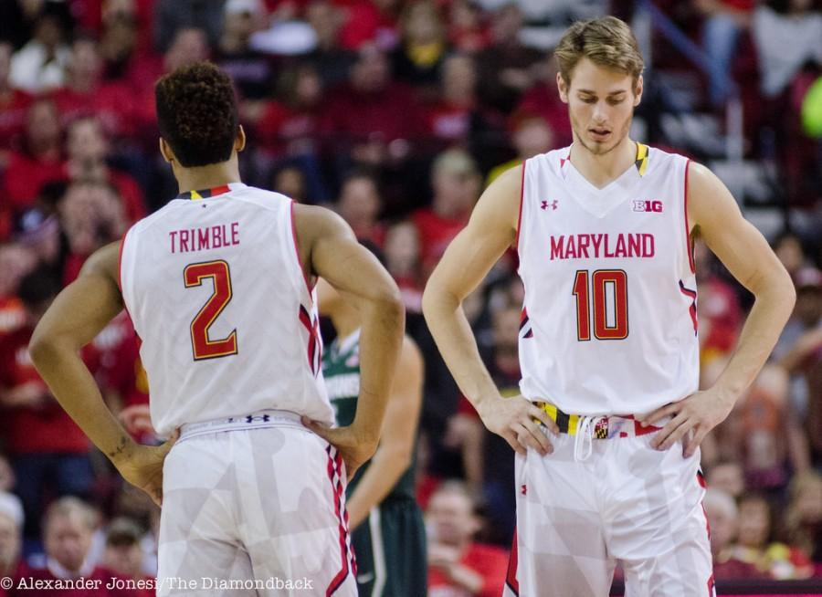 Junior Jake Layman (right) and freshman Melo Trimble (left) are returning for the 2015-2016 season.