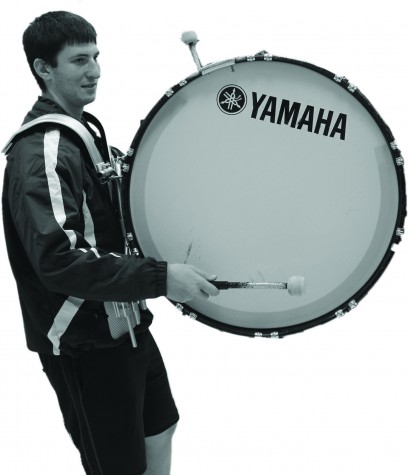 Senior CJ Snow plays the bass drum.