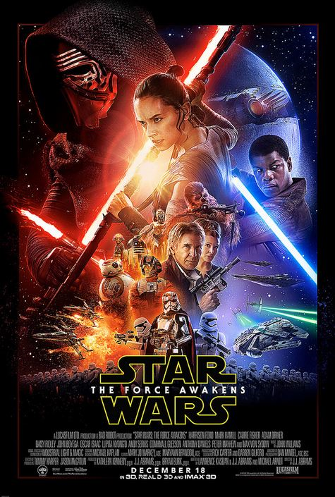 The new The Force Awakens  poster graces theaters worldwide.
