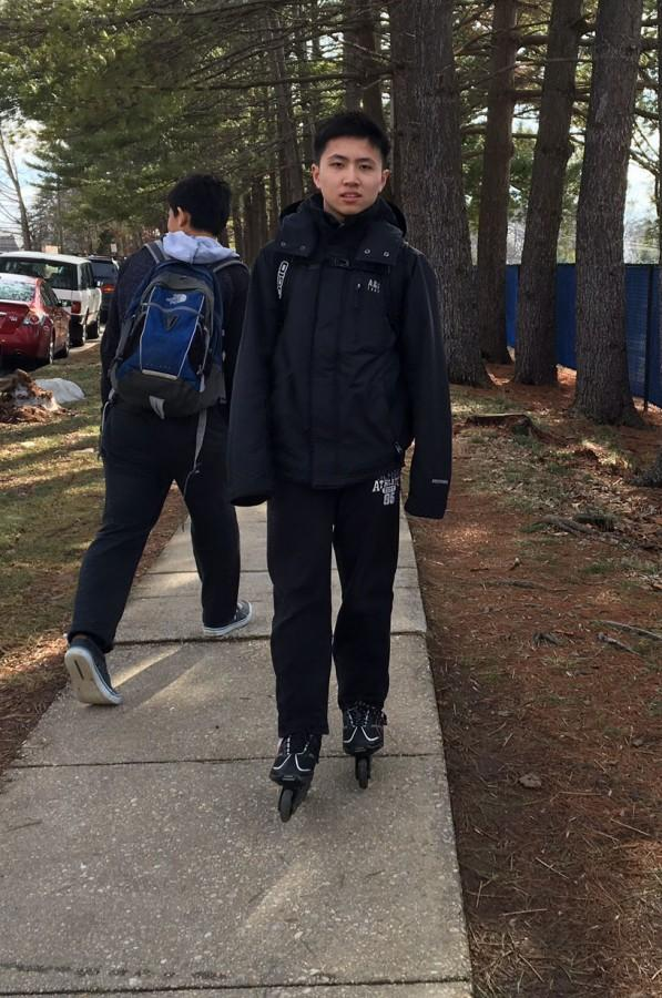 Freshman Benson Cheng rollerblades during his mile commute to and from school each day.