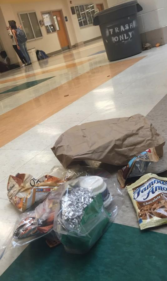 Students often leave trash after lunch for the building services crew to clean up.