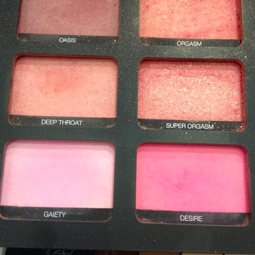 Makeup brand NARS gives suggestive titles to different shades of a blush palette.