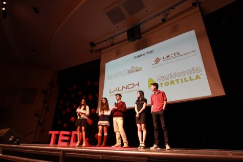 The officers of the Think Big club give their thanks to the audience at the end of the 2016 TEDxCHS.