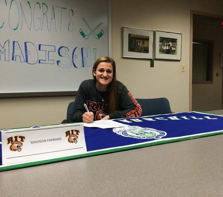 Senior Madison Farrand signs to play women's ice hockey for RIT.