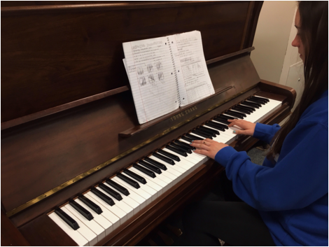 Freshman Danielle Menkart practices the piano. Recent studies have linked the use of music while learning math skills to an improvement in basic math proficiency.