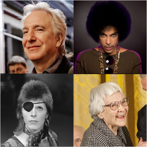 Clockwise from top left, David Bowie, Alan Rickman, Prince and Harper Lee.
