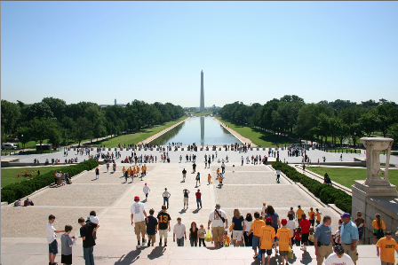 Visitors come from all over the country to see the Washington Monument.
