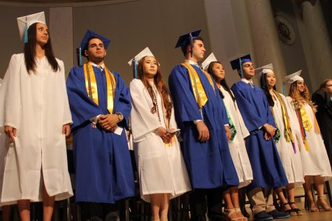The Class of 2016 SGA Officers during graduation. In the past, boys have worn blue and girl have worn white. This year, everyone will be wearing blue.