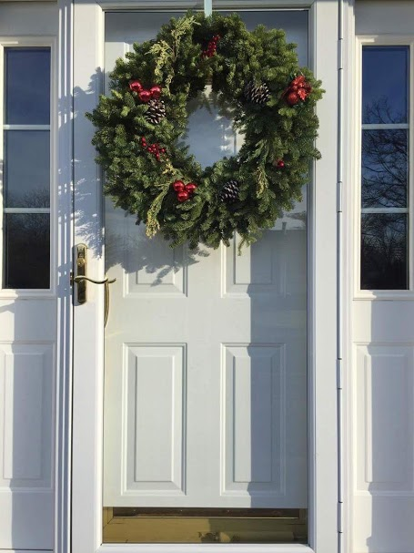 A wreath is pictured on the door of a house in Potomac, Maryland.