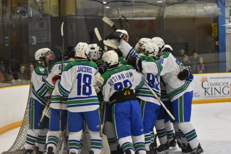 The Bulldogs celebrate on the ice after defeating Wootton 3-2 Nov. 18.