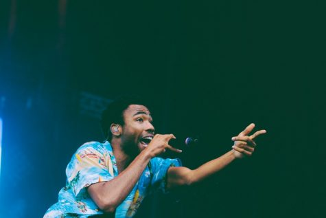 Childish Gambino performing at Lollapalloza 2014.