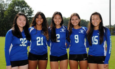 From left to right, seniors Marella Ma, Molly Stark, Emma Jin, Nina Gautam and Allison Lu. The Bulldogs won their senior game and finished the regular season 18-1.
