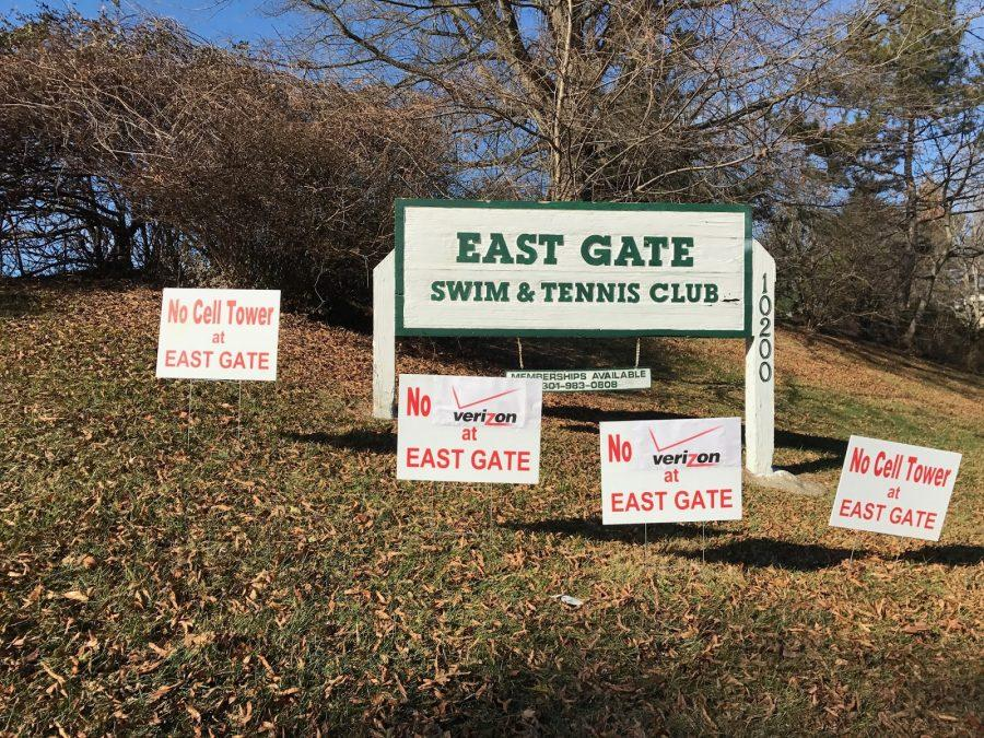 Signs+have+been+put+up+at+the+East+Gate+Swim+and+Tennis+Club+in+protest+of+the+proposed+Verizon+Wireless+cell+phone+tower.