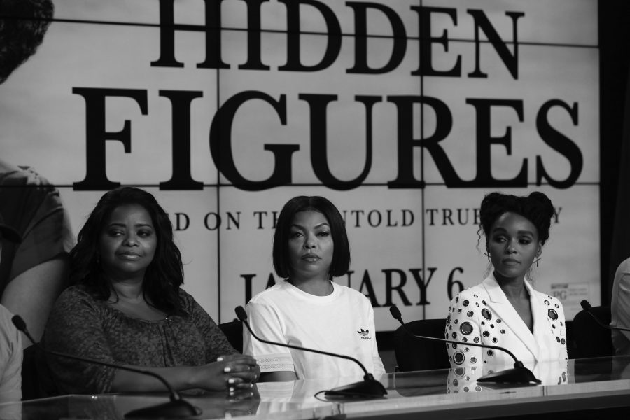 """Octavia Spencer, Taraji P. Henson and Janelle Monae at a press confrence for """"Hidden Figures."""" The movie is the highest grossing film of 2016."""
