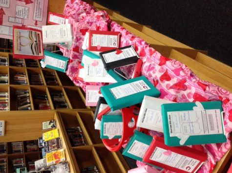 The display set up in the Media Center for Blind Date with a Book.