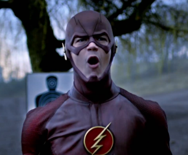 The Flash roars with pride and fury in a scene from the popular show.