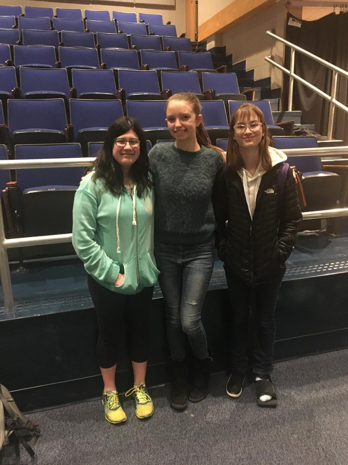 Caitlyn Jennings, Maya Simon, and Kiley Greiner (the officers of the new THRIVE club) after the club's first meditation, held by sponsor Makeyda Soriano.