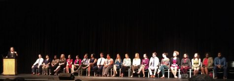 Luana Zimmerman introduces the 21 admission officers who came to visit CHS for Maryland College Night.