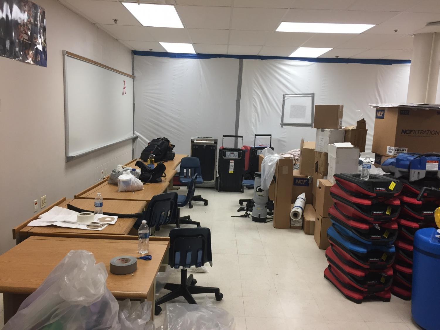 Most of the computer science classrooms are in the process of being repaired.