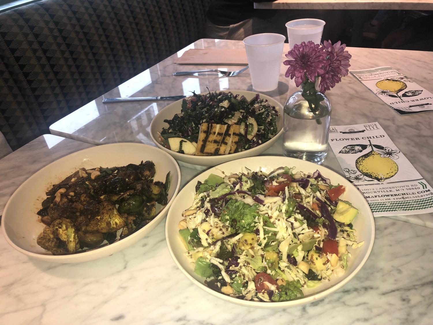 Pictured are the Vietnamese Crunch Salad (butter lettuce substituted for romaine), the Organic Kale Salad with Tofu and a plate with brussel sprouts, cauliflower and Japanese eggplant.