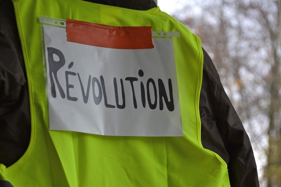 "The infamous ""gilet jaune"" with the French word for revolution taped on the back disrupts a popular"