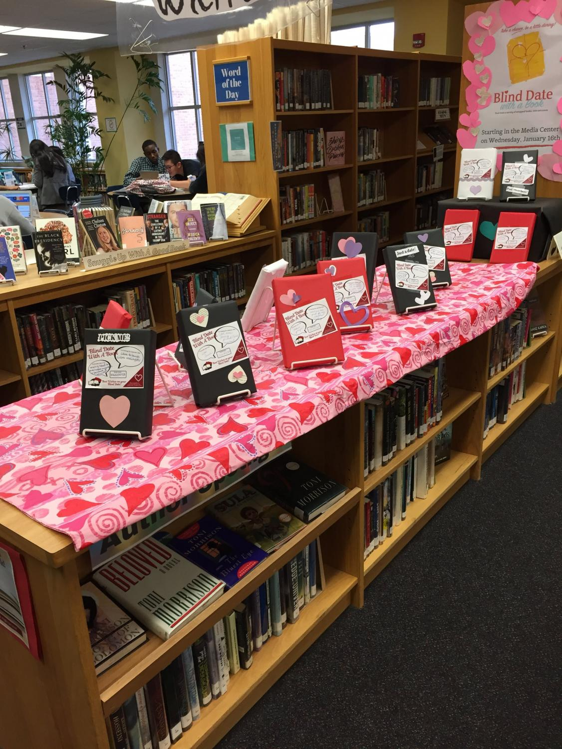 The WCHS media center puts on a blind date with a book display every year.
