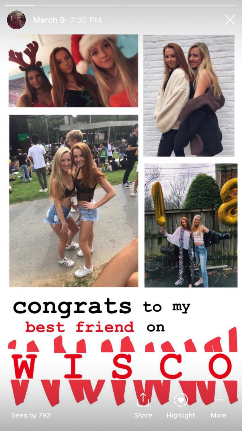 Hando posted a congratulatory photo for senior Halle Pogorelc on her commitment to Wisconsin. WCHS seniors have been using Instagram stories to shout out their friends in honor of their future college.