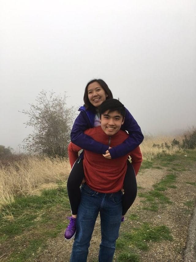 LeAnh Duckett rides on the back of her brother, Tim Duckett on a foggy day during a trip.  The WCHS freshman will miss her brother when he leaves for college soon.