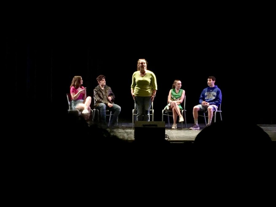 The One Act, Bullies Anonymous, featured a group of stereotypical bullies. From Left, Anonymous User (Eleanor Raab), Zed (Nicky Sremac-Saari), Guidance Counselor Jane (Kate Goldberg), Kimmy (Avery Harner), Kevin (Josh Jacobson).