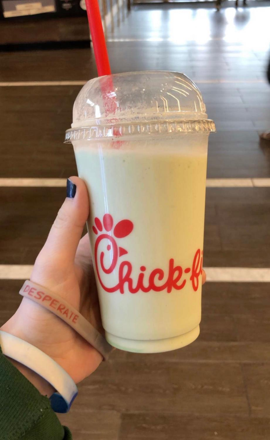 Chick-Fil-A features a new frosted key lime pie milkshake for the spring season.