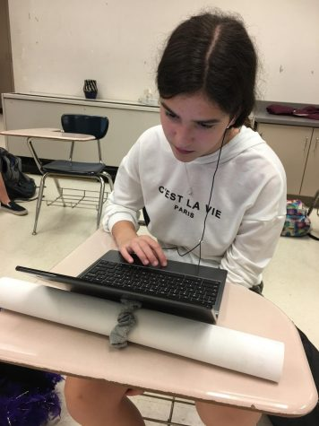 Freshman Aliki Dimitoglou works on the chromebook. Taking Health online is one of the three choices that tenth graders have to complete their mandatory credit.