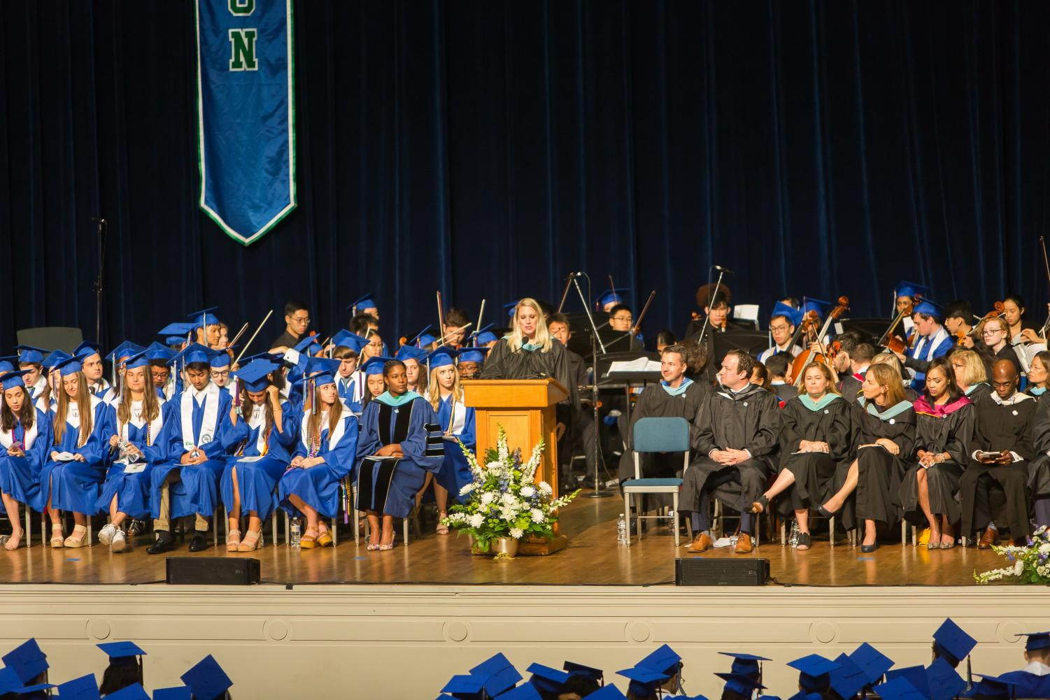 WCHS Principal Brandice Heckert addressing the WCHS Class of 2019 during their .graduation ceremony.
