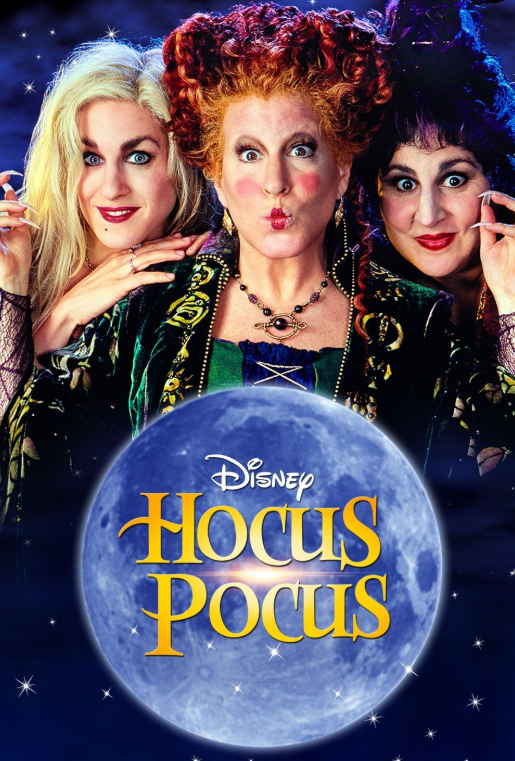 Sarah Jessica Parker (right), Bette Midler (middle), and Kathy Najimy play the iconic witch sisters in the classic Hocus Pocus.