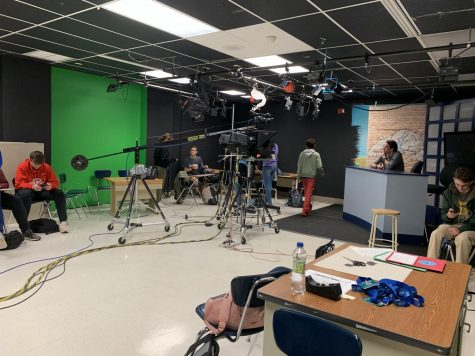 The students behind Bulldog TV work in the studio in room 261. This year, there has been an increased focus on student creativity, prompting a once a week broadcast and longer student produced segments.