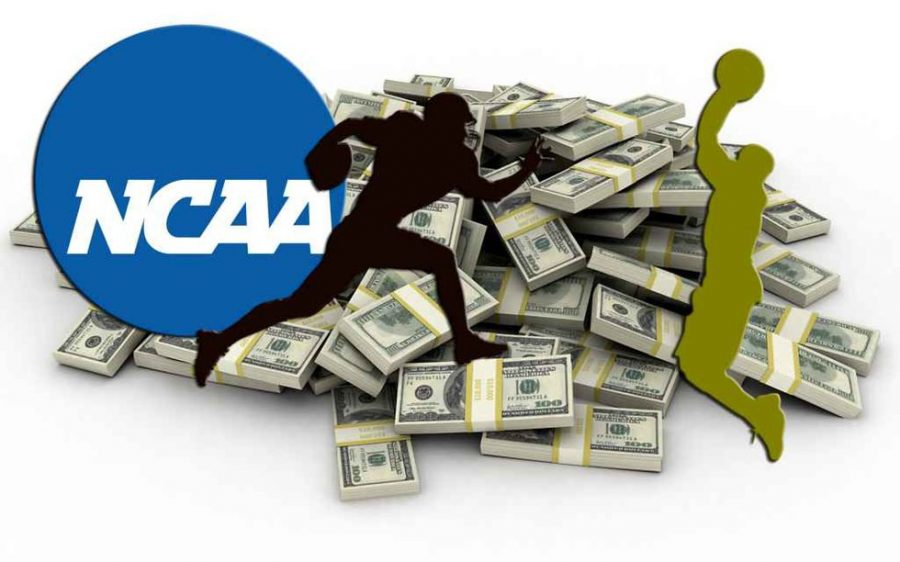 The+NCAA+logo+with+clip+art+of+a+football+player+and+a+baksteball+player+with+money+in+the+background+to+show+how+the+NCAA+has+a+corrupt+policy+robbing+many+athletes+of+their+money+that+they+should+be+entitled+to.
