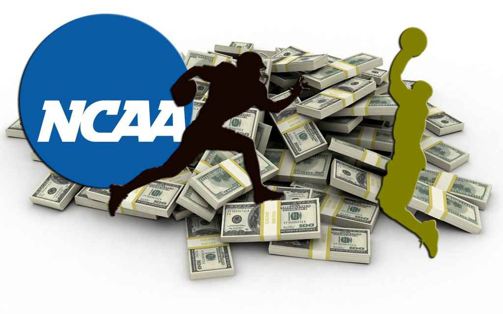 The NCAA logo with clip art of a football player and a baksteball player with money in the background to show how the NCAA has a corrupt policy robbing many athletes of their money that they should be entitled to.