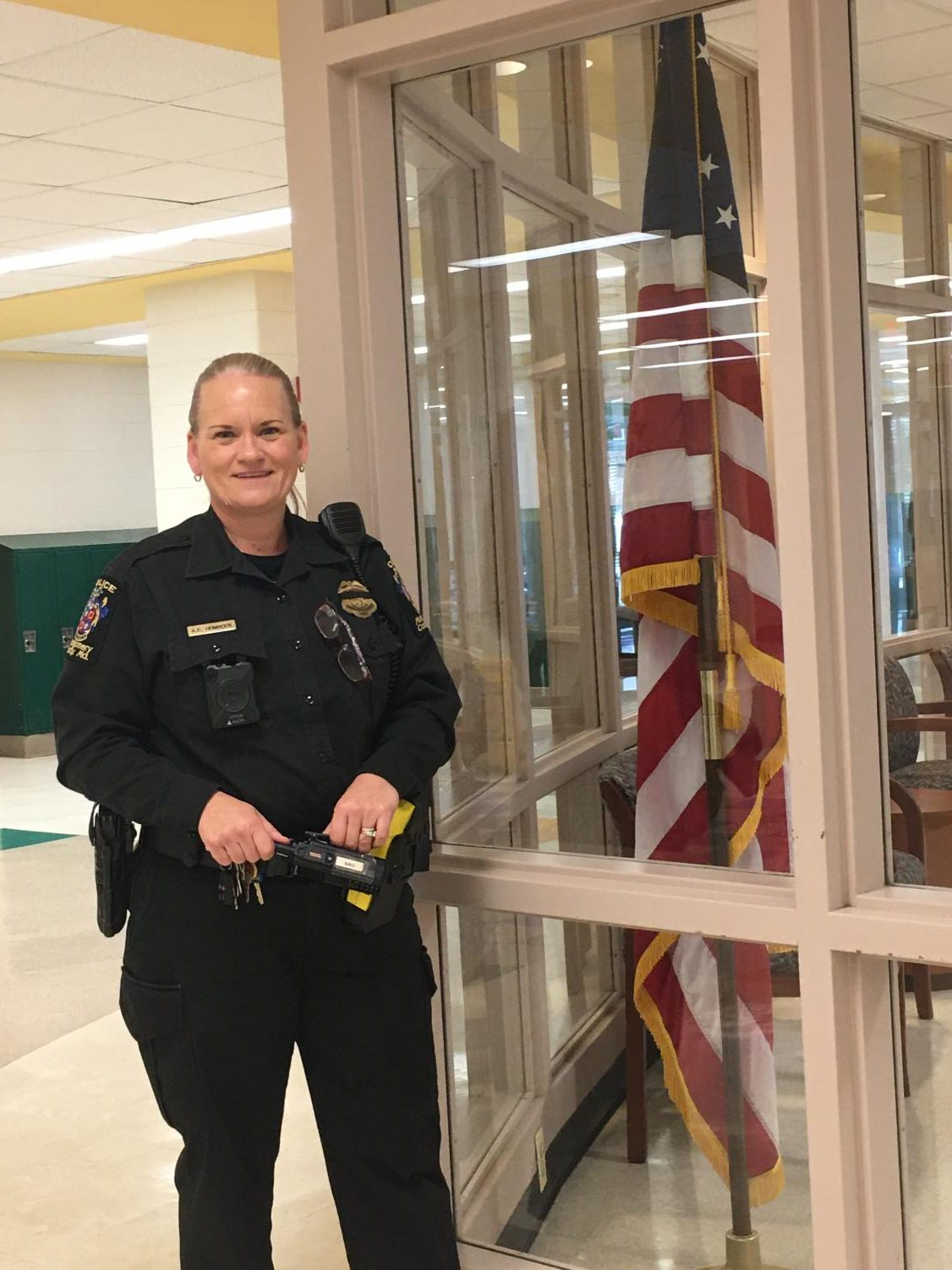 Officer Amy Homrock is the school's SRO, which is part of a program that the police and school have to keep students safe